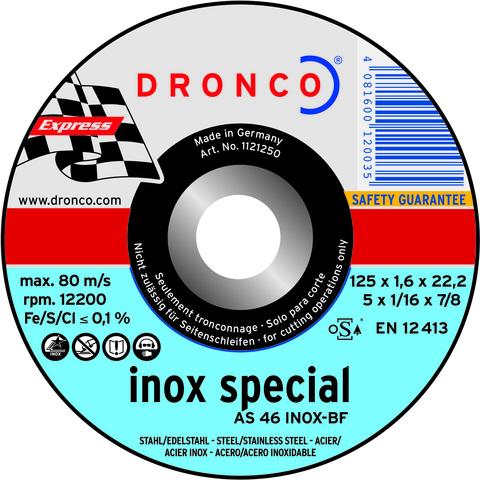 Абразивный отрезной диск Dronco  AS30 S  INOX  125x2,5x22,23