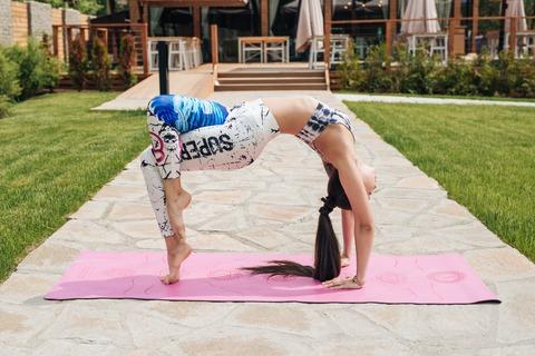 Каучуковый йога коврик Chakras Pink c разметкой 185*68*4,5см