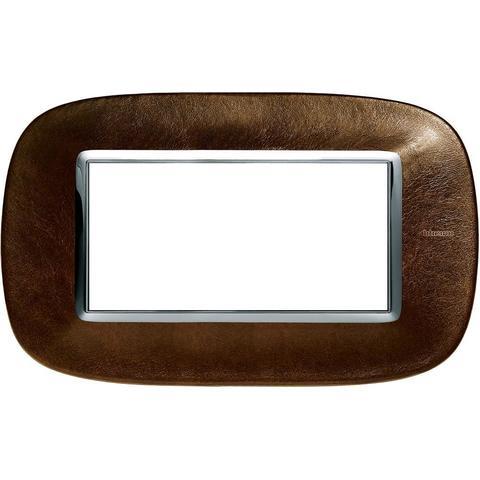 Рамка 1 пост, овальной формы. КОЖА. Цвет Кожа Кофе. Итальянский стандарт, 4 модуля. Bticino AXOLUTE. HB4804SLS