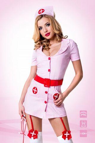 Костюм медстестры состоит из розового мини-халата со съемными пажами, головного убора и красного лакового пояса фото