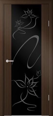 Дверь Фрегат Симфония, черный триплекс с рисунком и стразами SWAROVSKI, цвет венге, остекленная