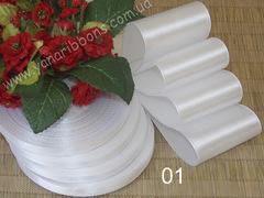 Лента атласная шириной 12,5 мм белая - 001