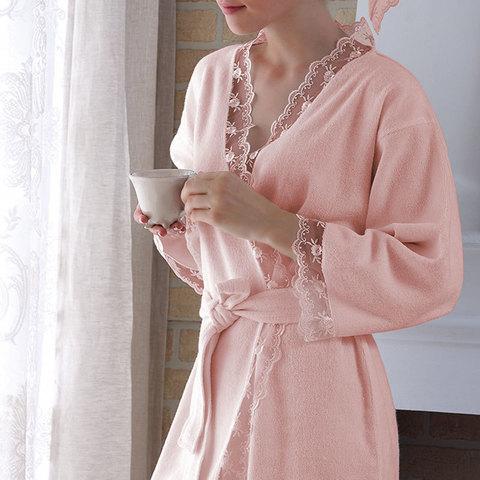 НАБОР BIANCA розовый махровый женский халат и полотенце 50х100 Tivolyo Home (Турция)