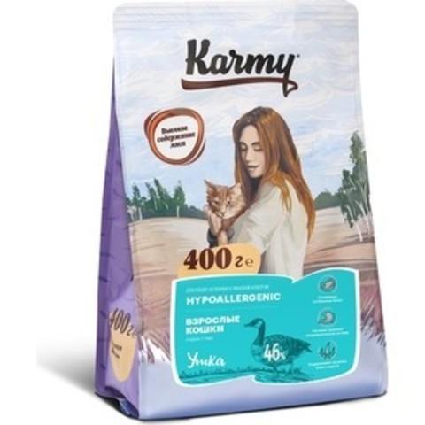 KARMY Гипоаллергенный сухой корм для кошек, склонных к пищевой аллергии (утка) 400г