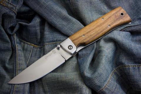 Складной нож НСК Стерх Х12МФ Полированный Орех Стальные Притины