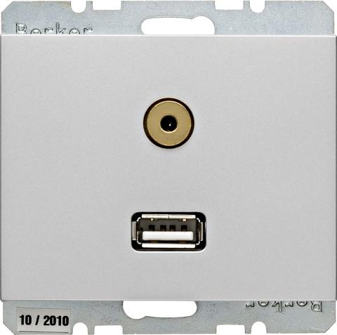 Розетка USB/3.5mm AUDIO. Цвет Алюминий. Berker (Беркер). K.5. 3315397003. Цвет Алюминий. Berker (Беркер). K.5. 3315397003