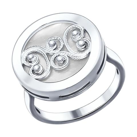 Кольцо с перламутром и сканью из  серебра от SOKOLOV