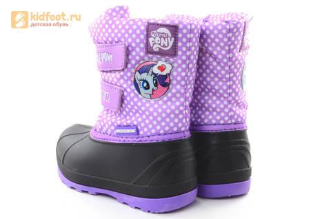 Зимние сапоги для девочек непромокаемые с резиновой галошей Пони (My little Pony), цвет сиреневый, Water Resistant. Изображение 7 из 15.