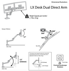 Кронштейн Ergotron 45-489-224, LX Desk Dual Direct Arm, черный