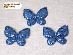 Мягкий декор Бабочки глиттерные синие