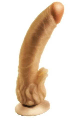 Гелевый фаллоимитатор на присоске с наростами для массажа клитора - 18,5 см.
