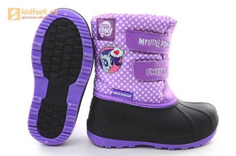 Зимние сапоги для девочек непромокаемые с резиновой галошей Пони (My little Pony), цвет сиреневый, Water Resistant. Изображение 9 из 15.