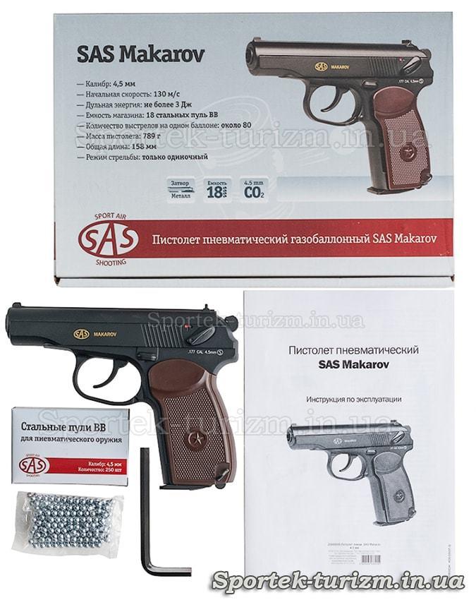 Комплектация и коробка с пневматическим пистолетом Макарова калибра 4,5 мм