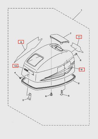 Комплект наклеек 15  для лодочного мотора T15, OTH 9,9 SEA-PRO (1-9/10/11)