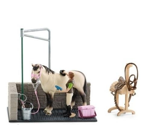 Schleich. Игрушечный набор для мойки лошадей.