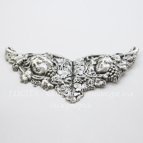 Винтажный декоративный элемент - штамп 120х55 мм (оксид серебра)