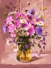 Полевые цветы- раскраски  по номерам