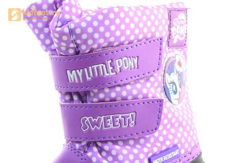 Зимние сапоги для девочек непромокаемые с резиновой галошей Пони (My little Pony), цвет сиреневый, Water Resistant. Изображение 14 из 15.