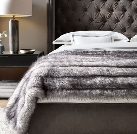 Channel Faux Fur Oversized Bed Throw