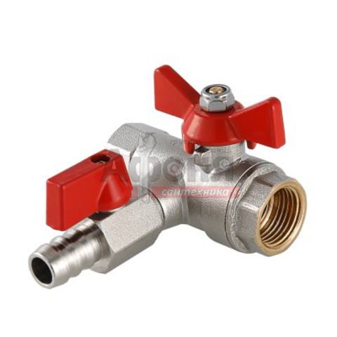 Кран шаровой VALTEC 1/2 г/г с обратным клапаном и дренажем (VT.248.N.04)