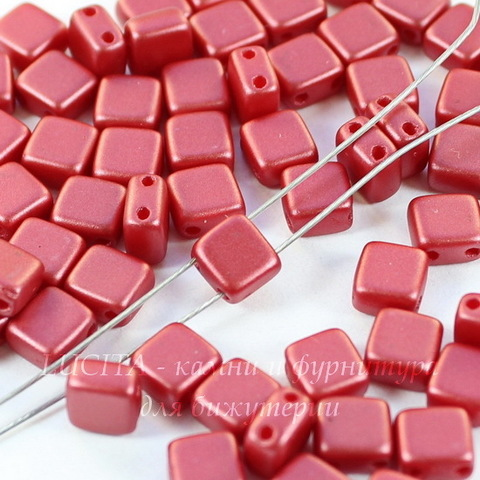 Бусина Tile mini Квадратная плоская с 2 отверстиями, 5 мм, пастельная кораллово-красная