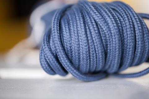 Хлопковый плетеный шнур деним 5 мм