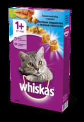 Whiskas полноценный корм для взрослых кошек подушечки с паштетом со вкусом лососем (1,9)