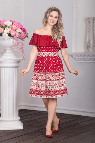 Платье Жар-птица с воланом