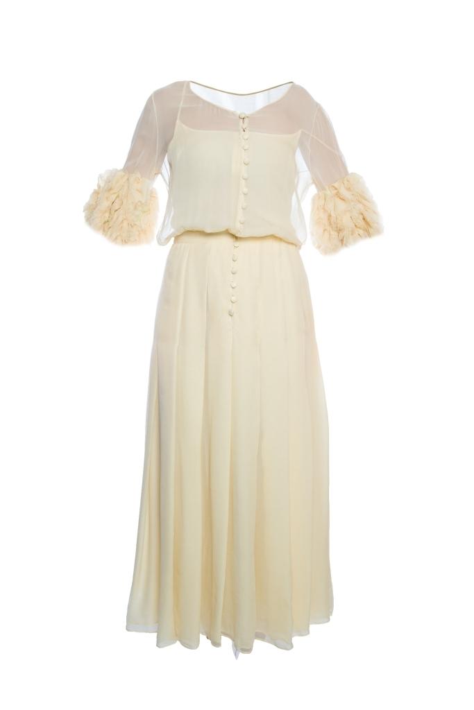 81f35e6dab36 Вечернее платье в пол из шелка нежно-желтого цвета от Chanel, 40 размер.