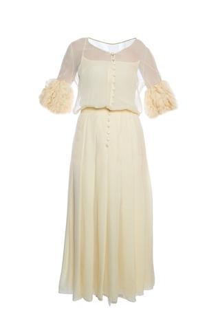 Вечернее платье в пол из шелка нежно-желтого цвета от Chanel, 40 размер.
