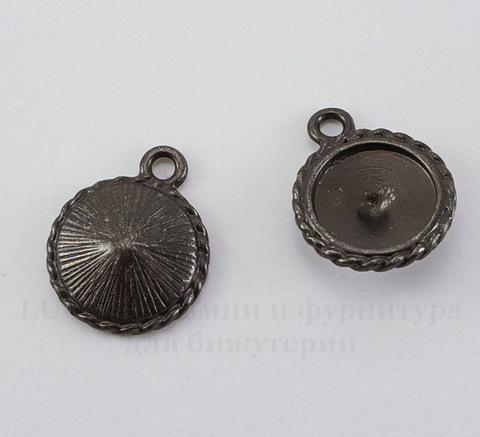 """Сеттинг - основа - подвеска TierraCast """"Плетенка"""" для страза 12 мм (цвет-черный никель)"""