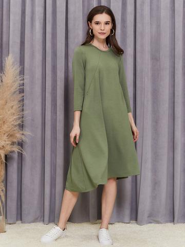 Платье Мира с секретами для кормления Хаки