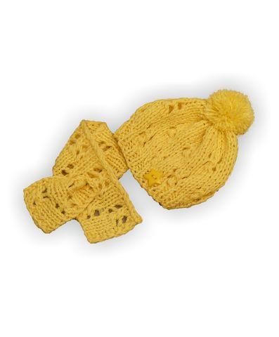 Шапка и шарф - Желтый. Одежда для кукол, пупсов и мягких игрушек.