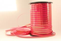 Лента с золотой полоской (0,5см*250ярд) Ярко-розовая