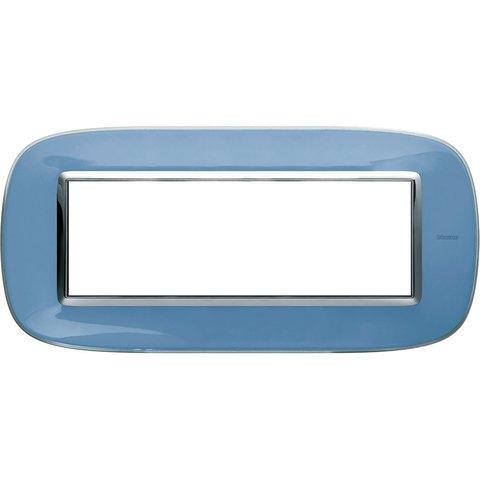 Рамка 1 пост, овальной формы. ПРОЗРАЧНЫЕ. Цвет Голубая карамель. Итальянский стандарт, 6 модулей. Bticino AXOLUTE. HB4806DZ