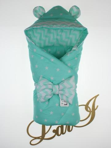 Демисезонный конверт  одеяло на выписку из роддома Микки (ментол)