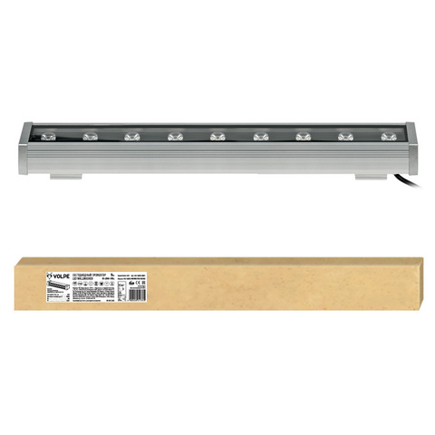 ULF-Q552 9W/NW IP65 SILVER Прожектор светодиодный линейный, 500мм. Белый свет. Угол 45 градусов. TM Volpe.