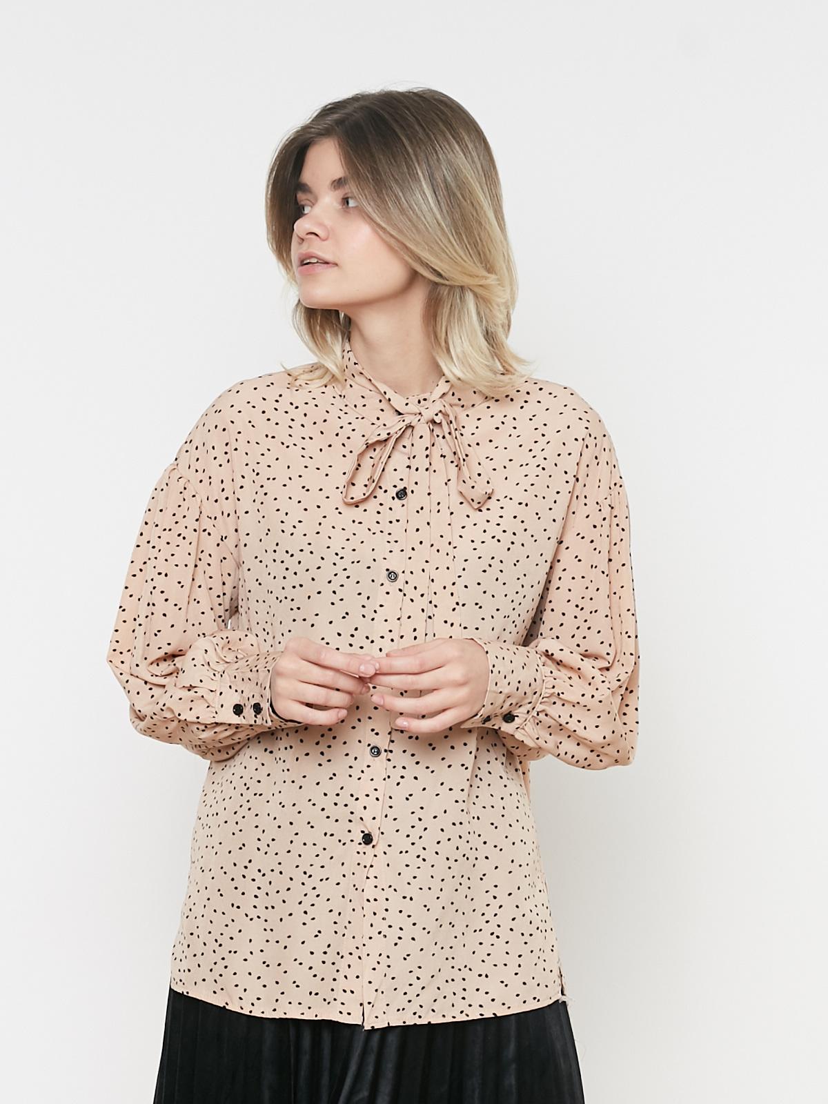 Блуза с завязками в горошек