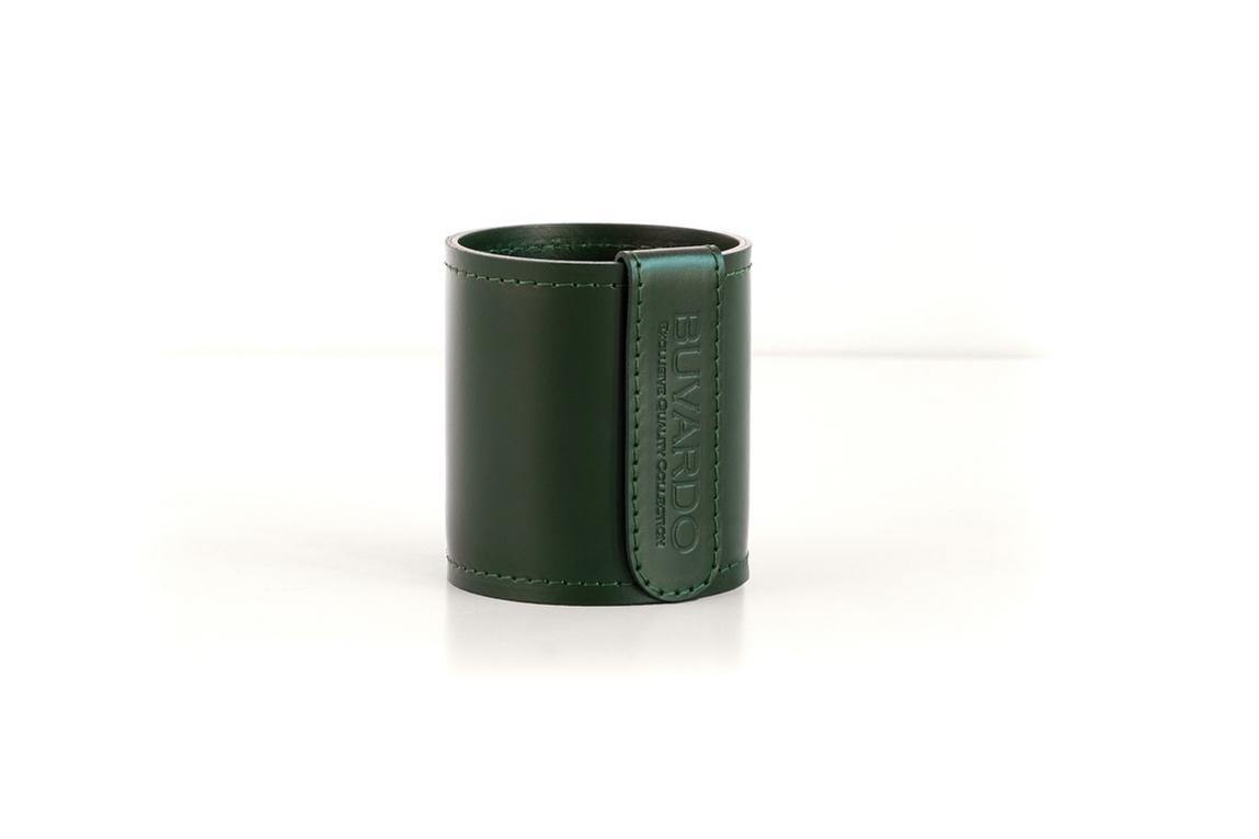Кожаный стакан для ручек и карандашей Н10 см цвет зеленый фото 2.