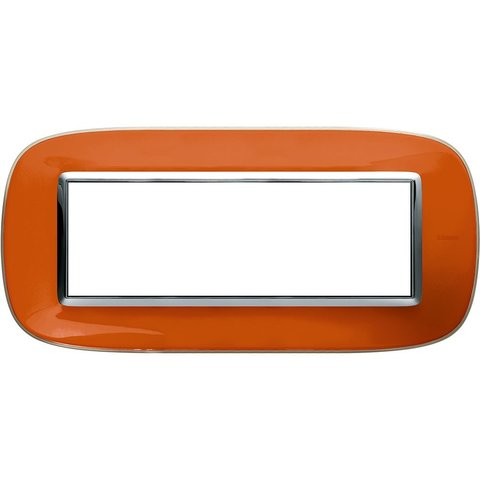 Рамка 1 пост, овальной формы. ПРОЗРАЧНЫЕ. Цвет Апельсиновая карамель. Итальянский стандарт, 6 модулей. Bticino AXOLUTE. HB4806DR