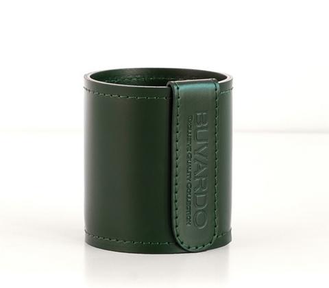 Кожаный стакан для ручек и карандашей Н10 см кожа Cuoietto цвет зеленый фото 1.