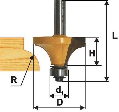 Фреза кромочная калевочная (19х10 мм; R 3,2 мм; хвостовик 8 мм) по дереву Энкор