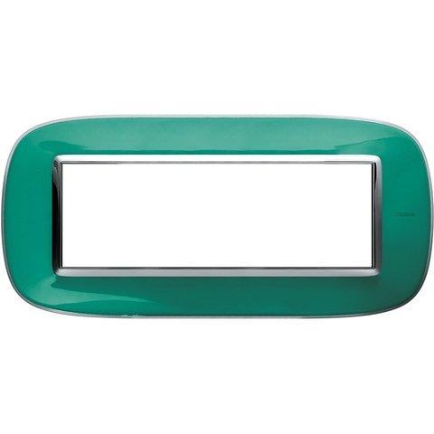 Рамка 1 пост, овальной формы. ПРОЗРАЧНЫЕ. Цвет Мятная карамель. Итальянский стандарт, 6 модулей. Bticino AXOLUTE. HB4806DV