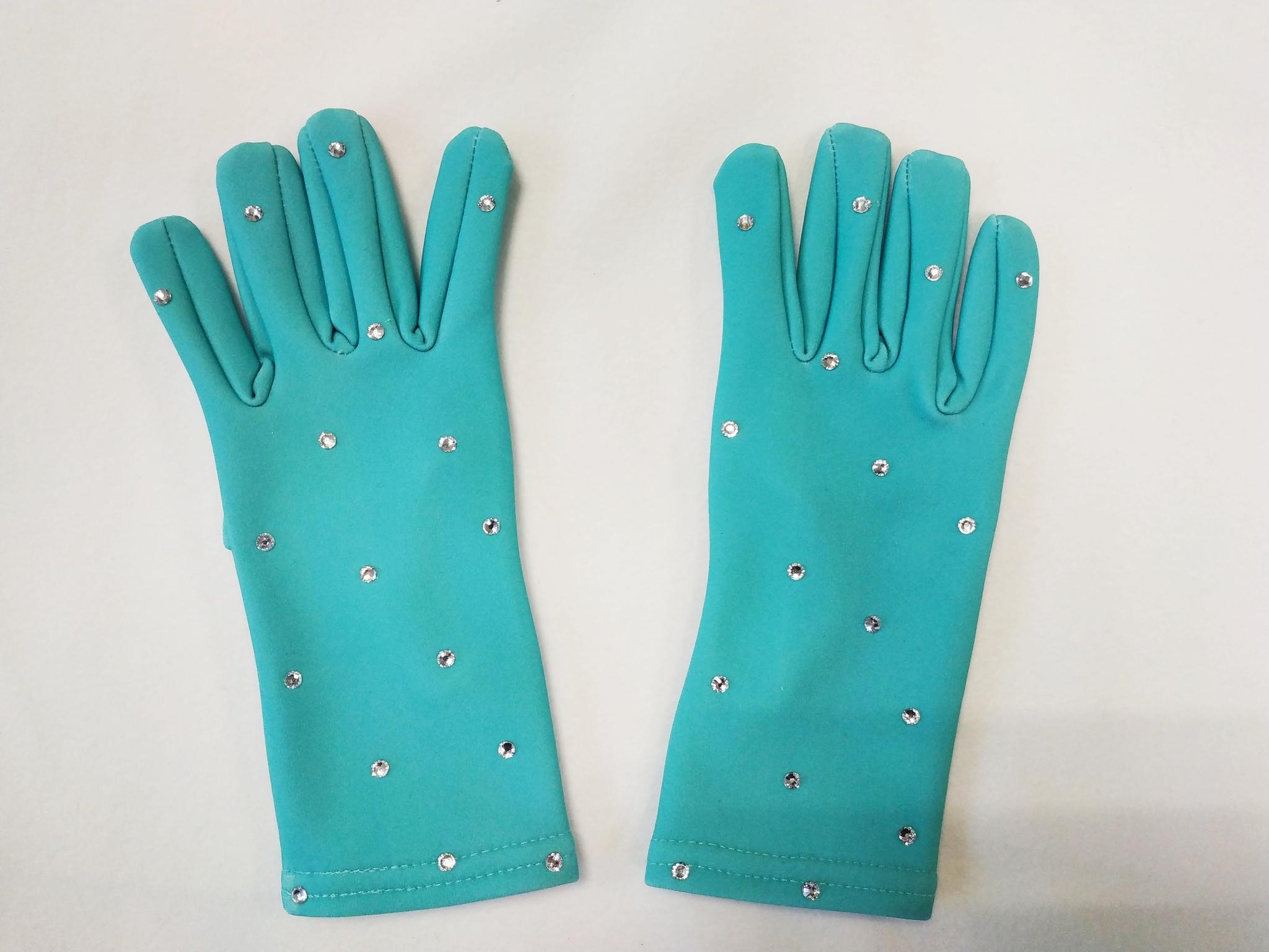 Перчатки из термоткани (нежно-мятные со стразами)