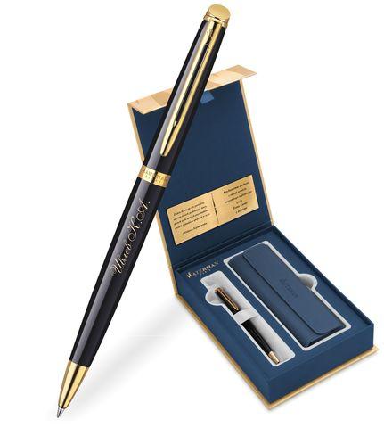 Набор с гравировкой: Чехол и Шариковая ручка Waterman Hemisphere Mars цвет: Black GT