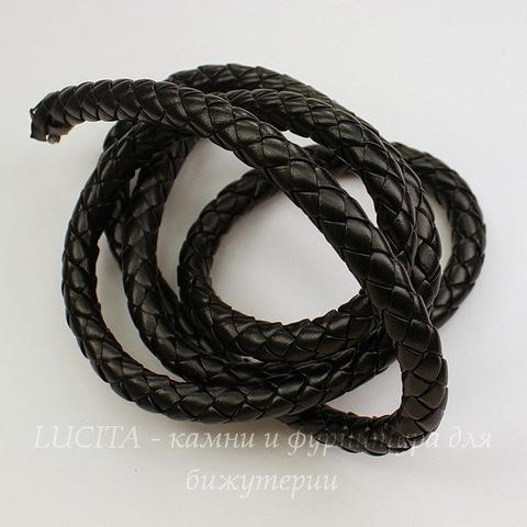 Шнур кожаный, 8 мм, цвет - черный, примерно 1 м
