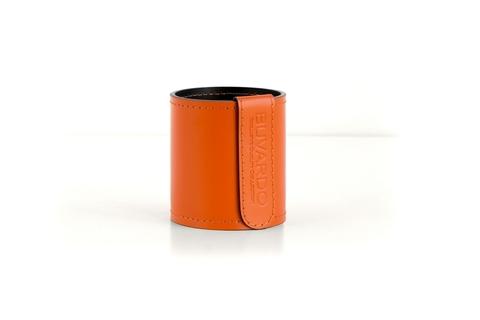 Кожаный стакан для ручек и карандашей Н10 см кожа Cuoietto цвет оранжевый/шоколад.