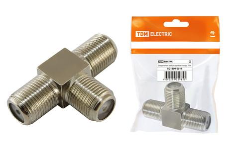 Соединитель кабеля тройник гнезда, инд. упаковка TDM