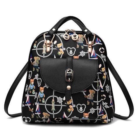 Средний стильный женский повседневный рюкзак черного цвета с рисунком из экокожи Dublecity 4698-5