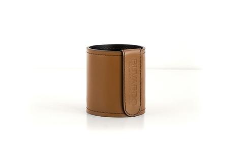 Кожаный стакан для ручек и карандашей Н10 см кожа Cuoietto цвет табак/шоколад.